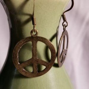 Handmade Peace Brass earings